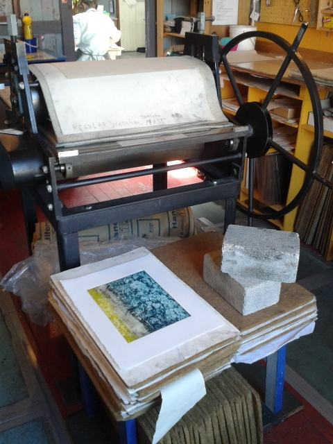 Back in the printmaking studio at GZPS on Fisgard